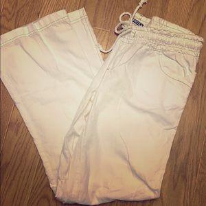 Roxy white pull on linen pants